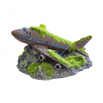 Figura Avión Hundido con Musgo